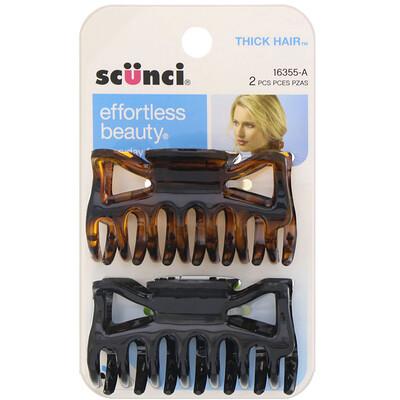 Scunci Заколки-крабы для густых волос Effortless Beauty, 2штуки  - купить со скидкой