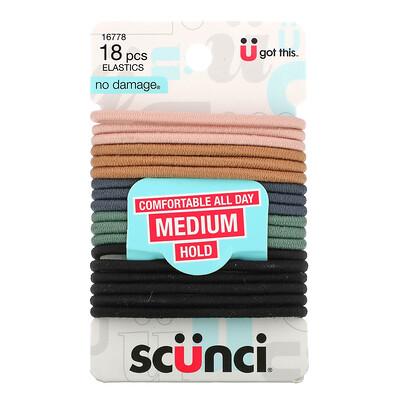 Купить Scunci No Damage, резинки для волос, комфорт в течение всего дня, средняя фиксация, нейтральный цвет, 18шт.
