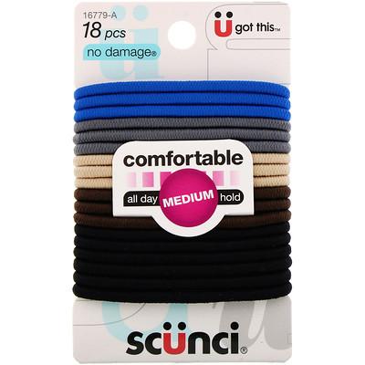 Купить Scunci Резинки для волос No Damage, удобные, удерживают волосы весь день (средняя фиксация), деним, 18штук