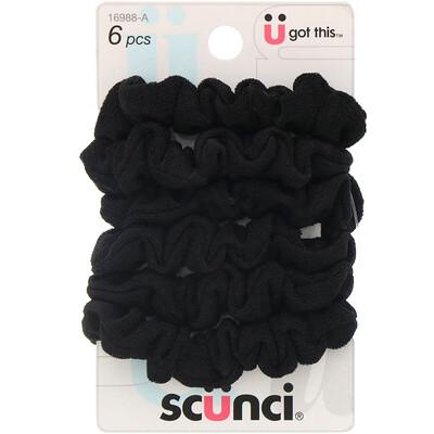 Scunci Маленькие резинки для волос, черные, 6штук  - купить со скидкой
