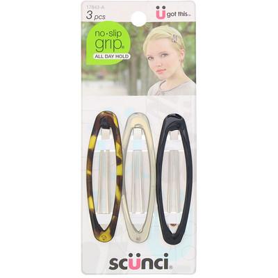 Купить Scunci Овальные зажимы для волос No Slip Grip, удерживают волосы весь день, разные цвета, 3штуки