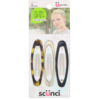 Scunci, No Slip Grip Oval Clip, All Day Hold, Assorted Colors, 3 Pieces