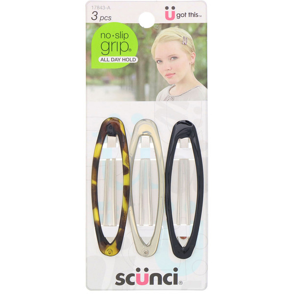 No Slip Grip Oval Clip, All Day Hold, Assorted Colors, 3 Pieces