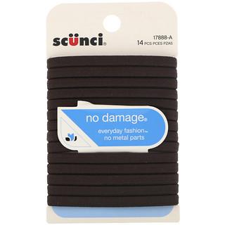 Scunci, No Damage Elastics, Brown, 14 Pieces