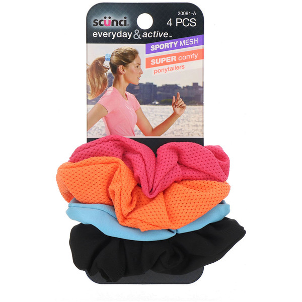 Everyday & Active, Sporty Mesh & Super Comfy Ponytailers, Assorted Colors, 4 Pieces
