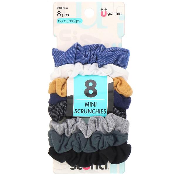 Scunci, No Damage, Mini Scrunchies, Assorted Denim Colors, 8 Pieces