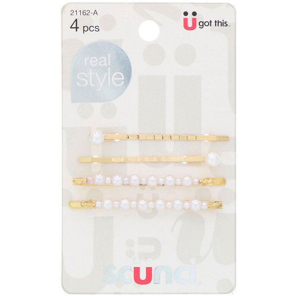 Real Style, Pearl Bobby Pins, 4 Pieces