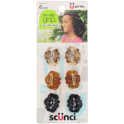 Купить Scunci Маленькие заколки-крабы No Slip Grip, разные цвета, 6штук