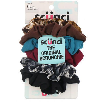 Купить Scunci Резинки для волос The Original Scrunchie, 6штук