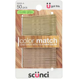 Scunci, No Slip Grip, Color Match Bobby Pins, Blonde, 50 Pieces