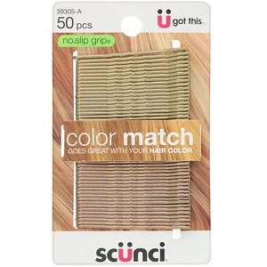 Scunci, No Slip Grip, Color Match Bobby Pins, Blonde, 50 Pieces отзывы покупателей