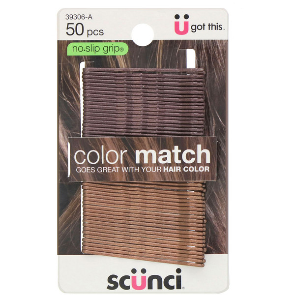 Scunci, No Slip Grip, Color Match Bobby Pins, Brunette, 50 Pieces
