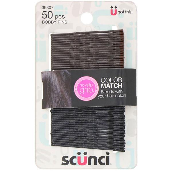 Scunci, No Slip Grip, Color Match Bobby Pins, Black, 50 Pieces