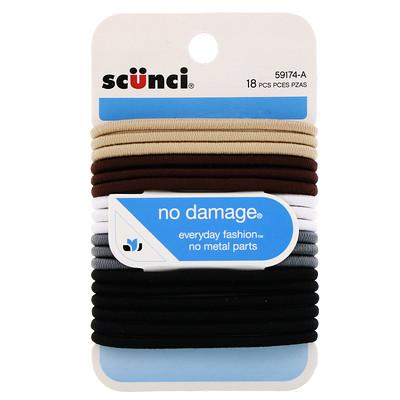 Купить Scunci Резинки для волос No Damage, хаки, 18штук
