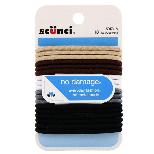 No Damage Elastics, Khaki, 18 Pieces