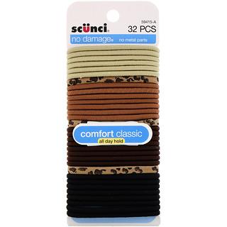 Scunci, No Damage Elastics, Comfort Classic, All Day Hold, 32 Pieces