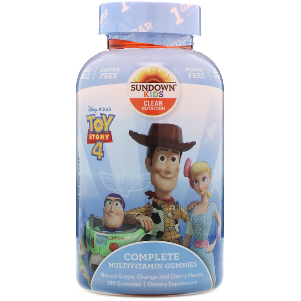 Sundown Naturals Kids, Complete Multivitamin Gummies, Toy Story 4, Natural Grape, Orange & Cherry Flavors, 180 Gummies