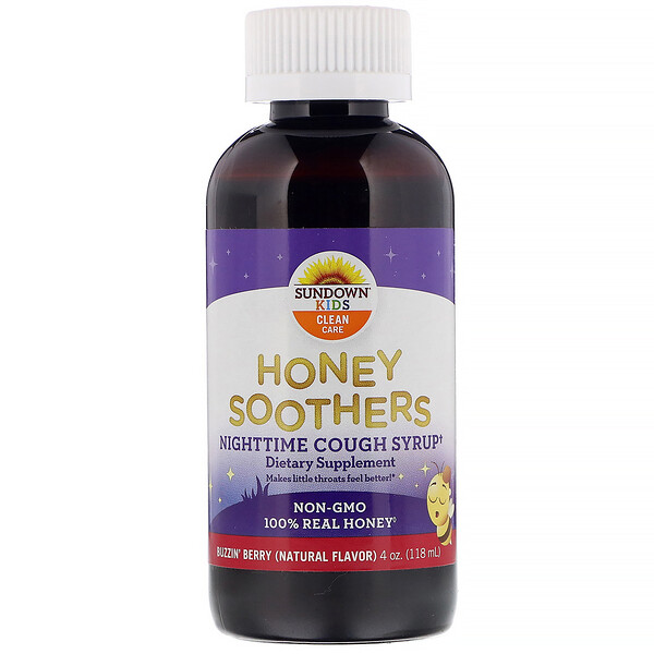 Sundown Naturals Kids, Honey Soothers, Nighttime Cough Syryp, Buzzin' Berry, 4 oz (118 ml)