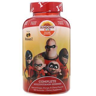 Sundown Naturals Kids, полноценный комплекс мультивитаминов в жевательных таблетках, «Суперсемейка2», натуральные апельсин и вишня, 180жевательных таблеток