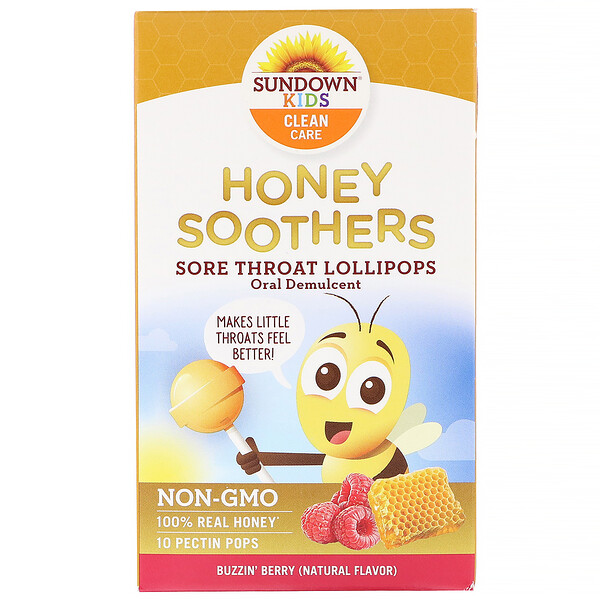 Sundown Naturals Kids, Honey Soothers, Sore Throat Lollipops, Buzzin' Berry, 10 Pectin Pops
