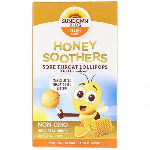 Sundown Naturals Kids, Honey Soothers, Sore Throat Lollipops, Aww-Some Orange, 10 Pectin Pops отзывы покупателей