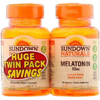 Sundown Naturals, Melatonin, Twin Pack, 10 mg, 90 Capsules Each
