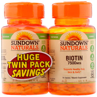 Sundown Naturals, Biotin, Twin Pack, 7,500 mcg, 75 Tablets Each