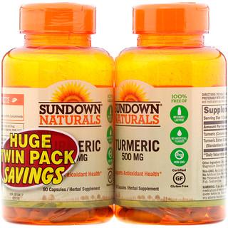 Sundown Naturals, Turmeric, Twin Pack, 500 mg, 90 Capsules Each