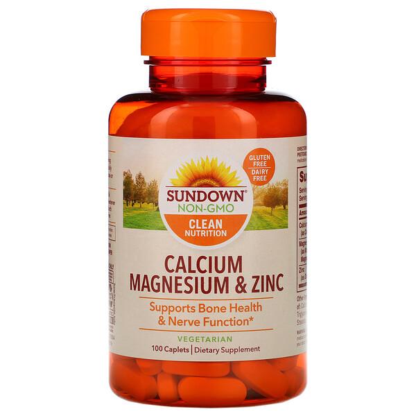 Sundown Naturals, кальций, магний и цинк, 100капсуловидных таблеток