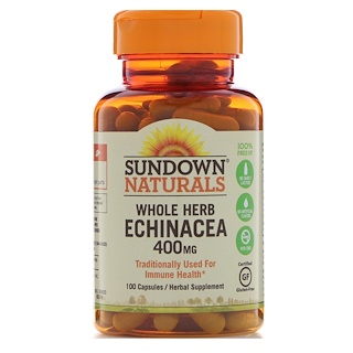 Sundown Naturals, Whole Herb Echinacea, 400 mg, 100 Capsules