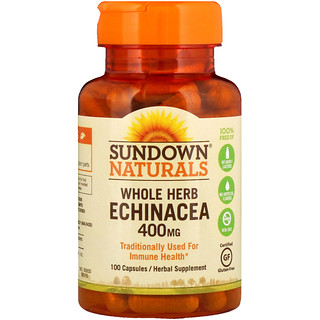 Sundown Naturals, Equinácea integral, 400 mg, 100 Cápsulas