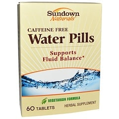 Sundown Naturals, Water Pills, Caffeine Free, 60 Tablets
