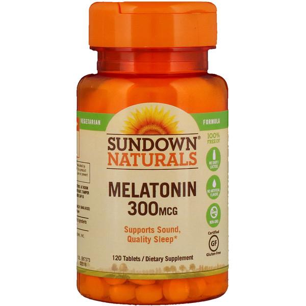 Sundown Naturals, ميلاتونين، 300 ميكروغرام، 120 حبة