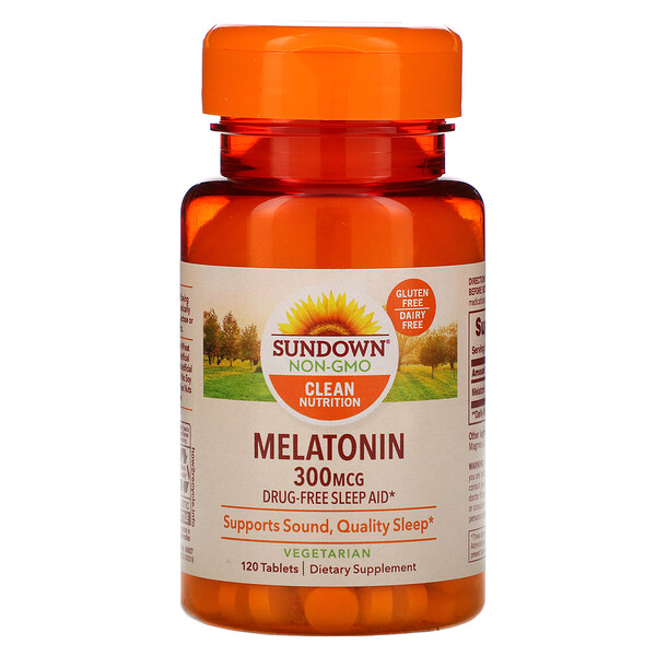 Sundown Naturals, Melatonin, 300 mcg, 120 Tablets