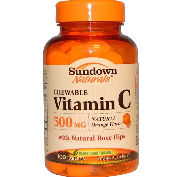Sundown Naturals, Chewable Vitamin C, Natural Orange Flavor, 500 mg, 100 Tablets