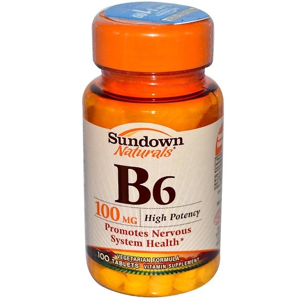 Sundown Naturals, B-6, 100 mg, 100 Tablets (Discontinued Item)
