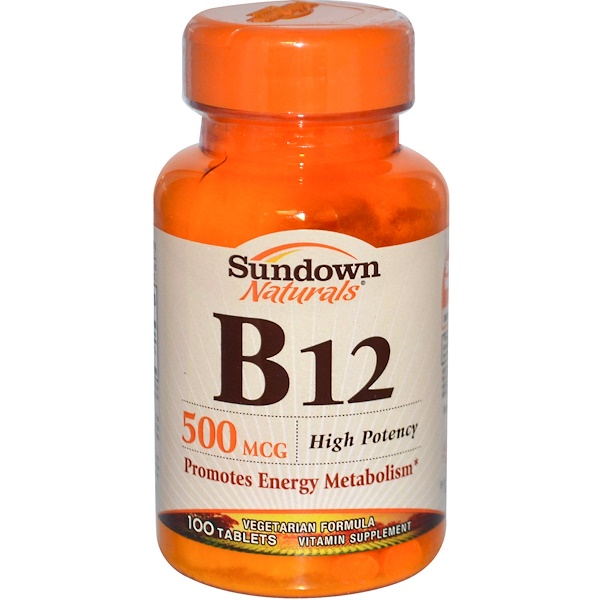 Sundown Naturals, B-12, High Potency, 500 mcg, 100 Tablets (Discontinued Item)