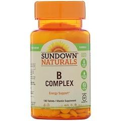 Sundown Naturals, Complexo B, 100 Comprimidos