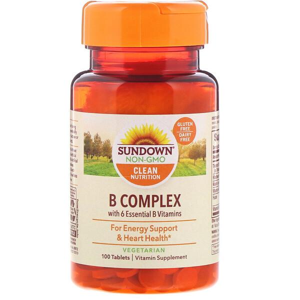 Sundown Naturals, B-Complex, 100comprimés