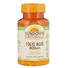 Sundown Naturals, Folic Acid, 800 mcg, 100 Tablets