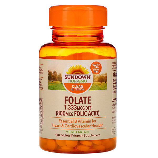 Sundown Naturals, Folate, 1,333 mcg DFE, 100 Tablets (Discontinued Item)