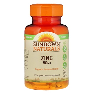 Sundown Naturals, Zinc, 50 mg, 100 Caplets