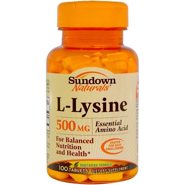 Sundown Naturals, L-Lysine, 500 mg, 100 Tablets (Discontinued Item)