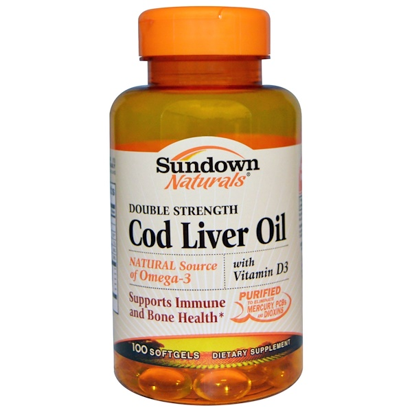 Sundown Naturals, Cod Liver Oil, Double Strength, With Vitamin D3, 100 Softgels (Discontinued Item)