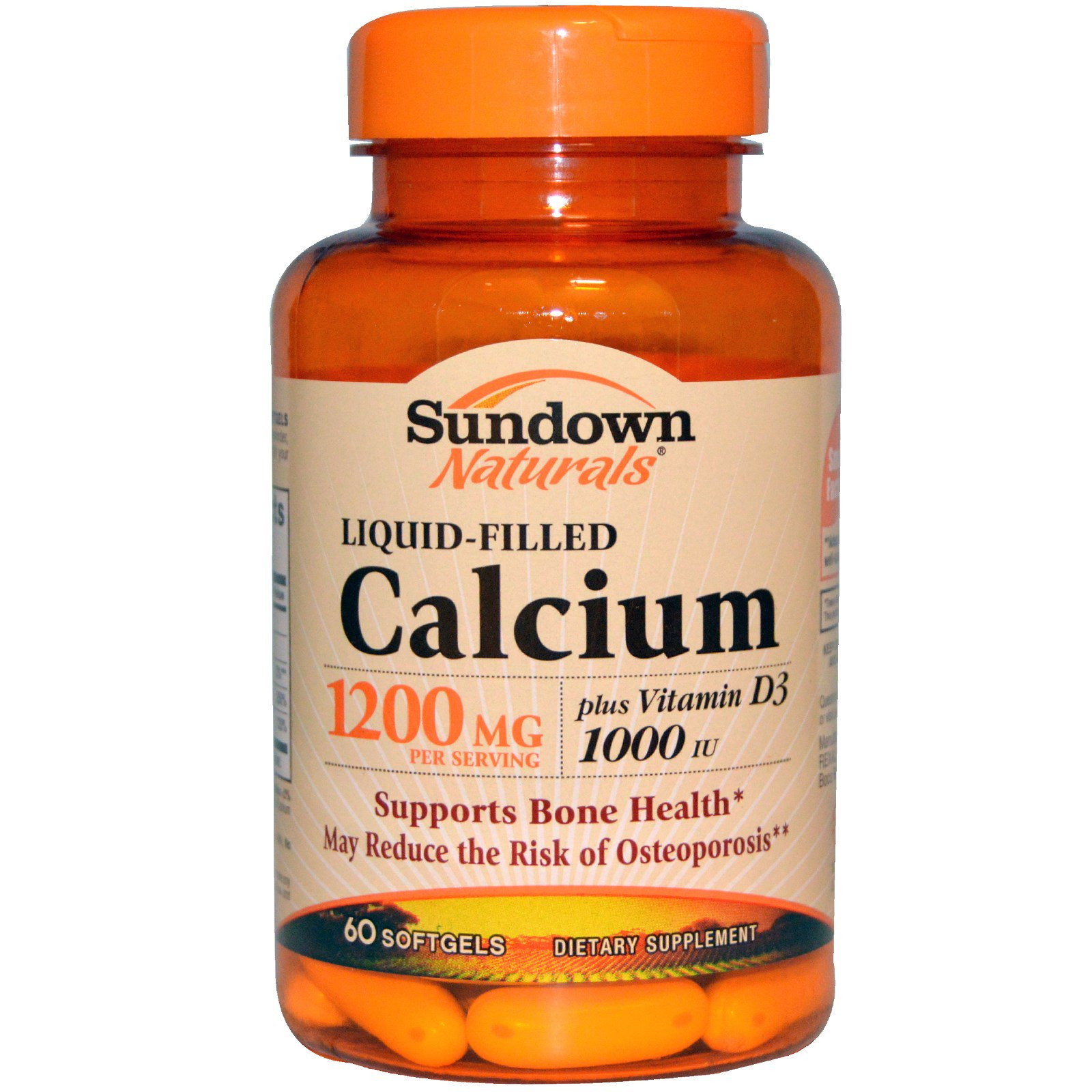 Sundown Naturals, Кальций в жидкости, 1200 мг, 60 капсул