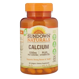 Sundown Naturals, Calcium, Plus Vitamin D3, 1200 mg, 60 Softgels