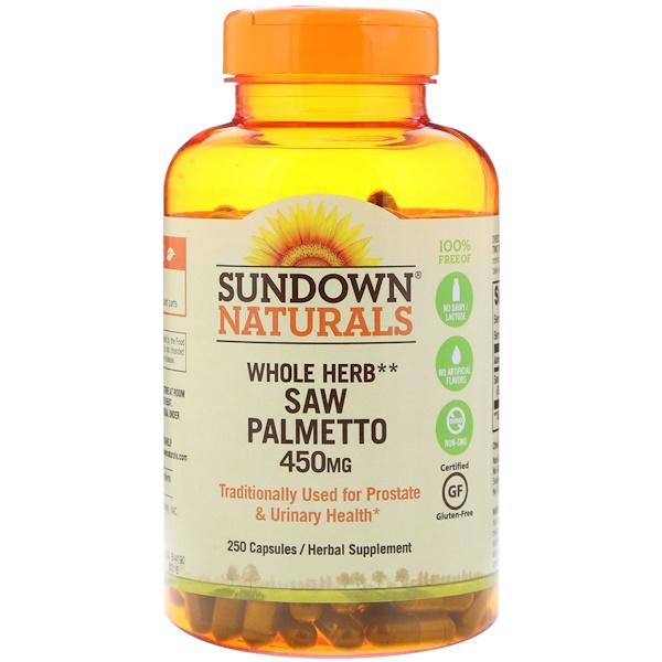 Sundown Naturals, Whole Herb, Saw Palmetto, 450 mg, 250 Capsules