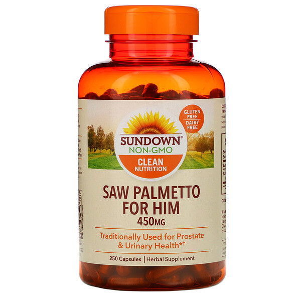 Sundown Naturals, Whole Herb, palma enana estadounidense, 450 mg, 250 cápsulas