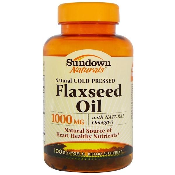 Sundown Naturals, 亞麻籽油,1,000毫克,100粒軟膠囊