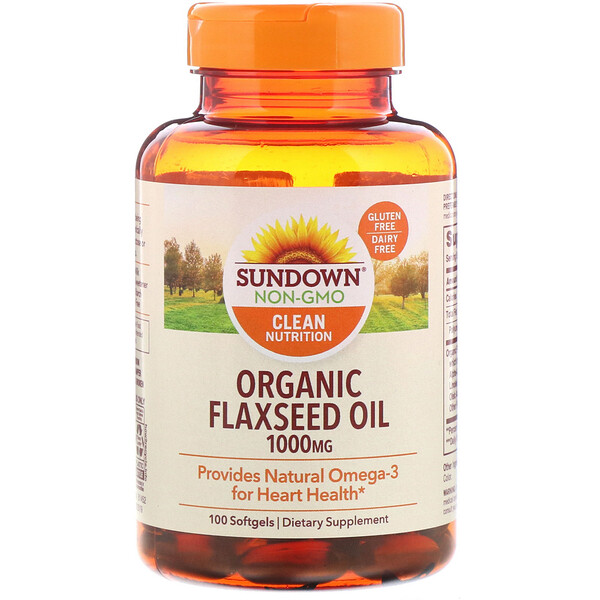 Organic Flaxseed Oil, 1,000 mg, 100 Softgels